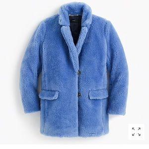 Amazing J. Crew Teddy coat in plush blue fleece